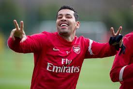 André Santos no treino do Arsenal