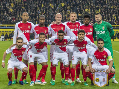 Time posado do Monaco contra o Borussia